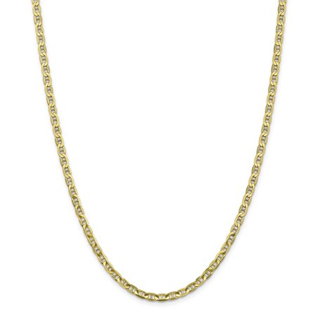 10k Yellow Gold 3.75mm Concave Anchor Chain Necklace Lobster (Gold Concave Anchor Chain)