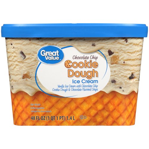 Great Value Chocolate Chip Cookie Dough Ice Cream, 48 oz