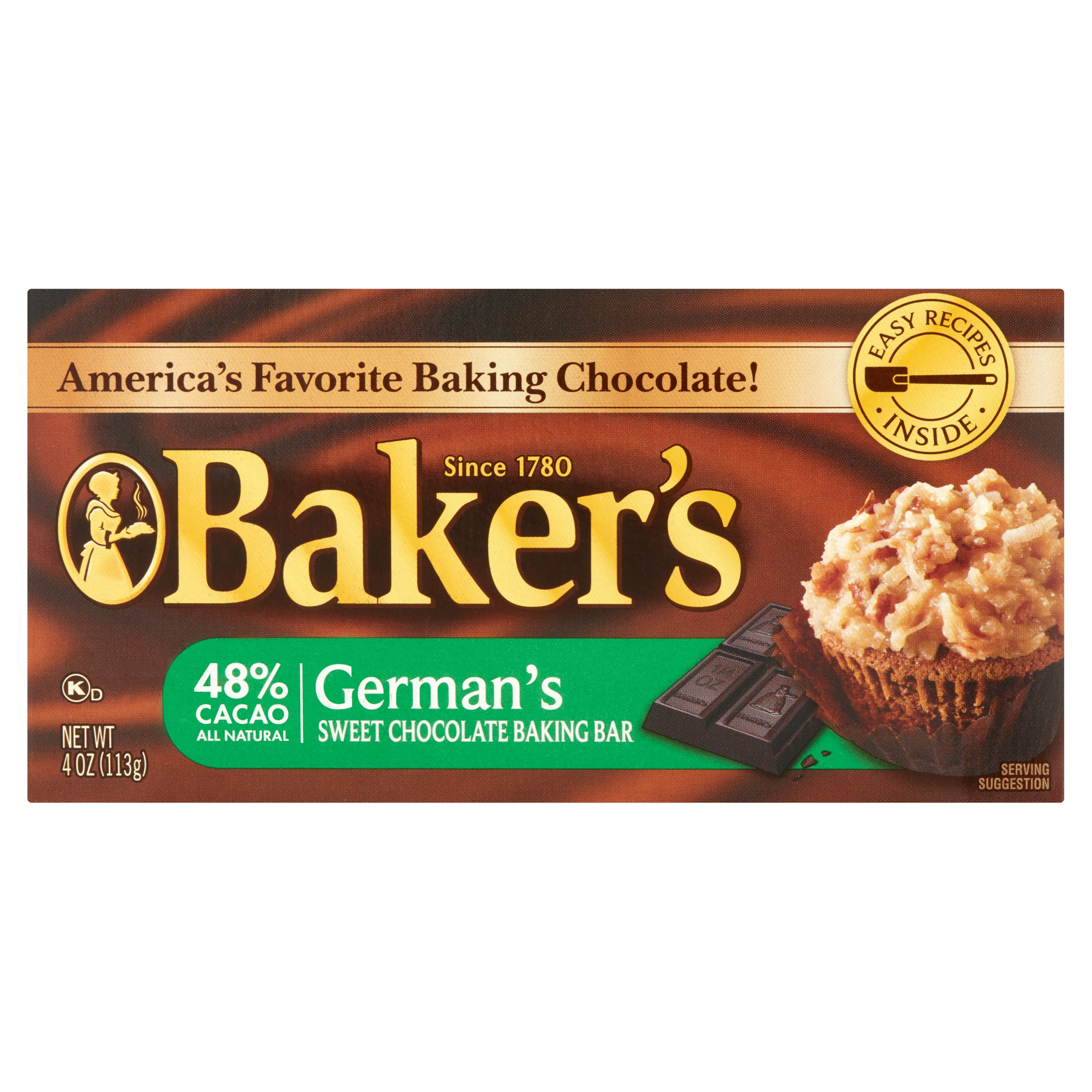 Baker's Baking Chocolate Bar 48% Cacao German's Sweet, 4 Oz by Kraft Foods Group, Inc.