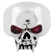 Sterling Silver Vampire of Hell Garnet Cubic Zirconia Eyes Skull Ring 16