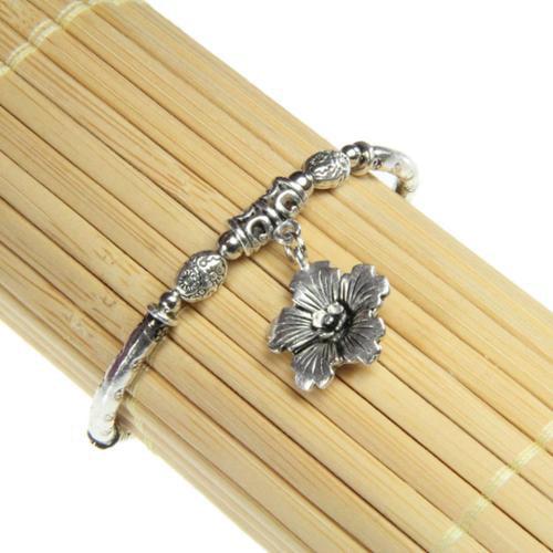 Zenses Tibetan Silver Flower Charm Bracelet (China)