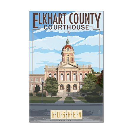 Goshen  Indiana   Elkhart County Courthouse   Lantern Press Poster  8X12 Acrylic Wall Art Gallery Quality
