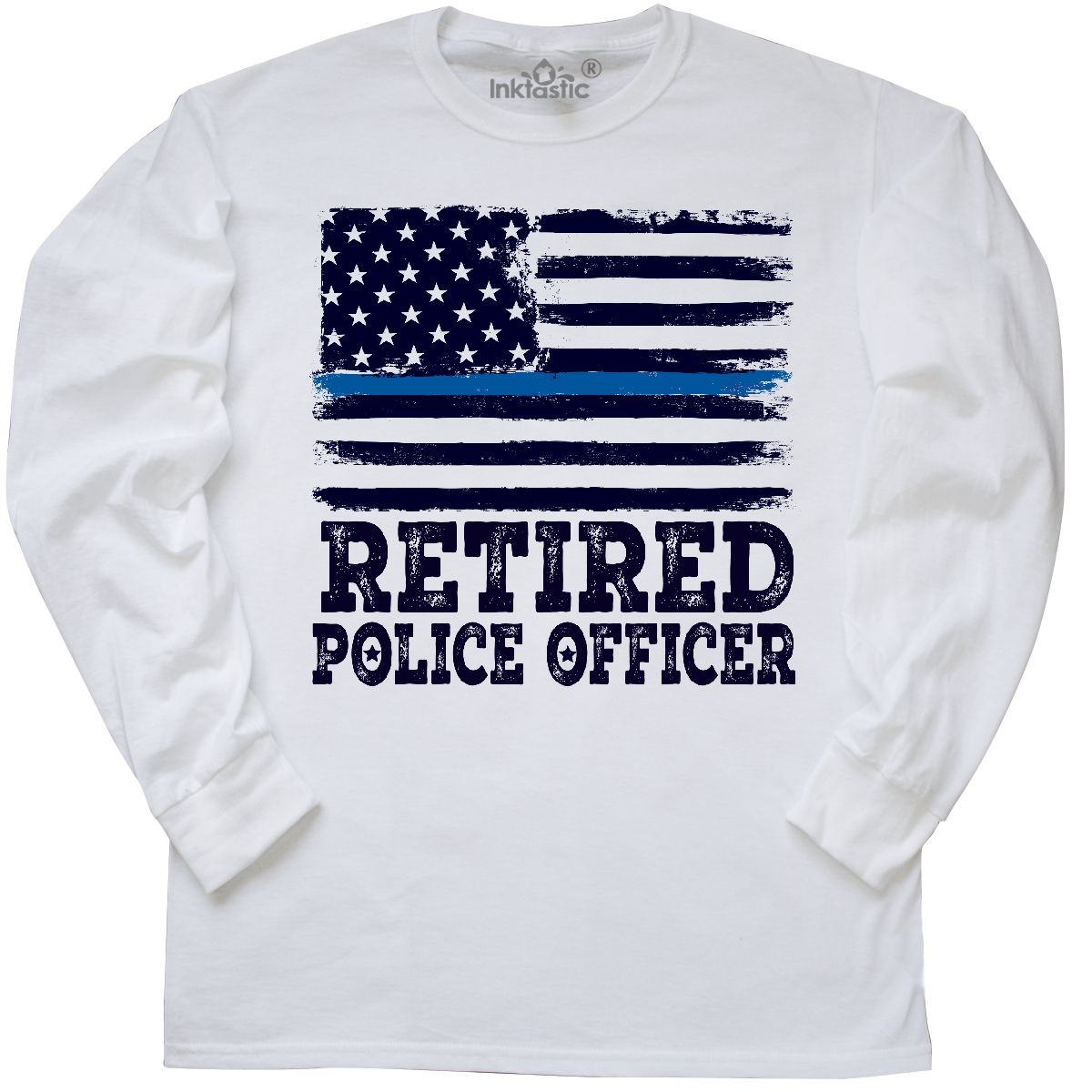 Inktastic Retired Police Officer Gift Long Sleeve T-Shirt Retirement Policeman