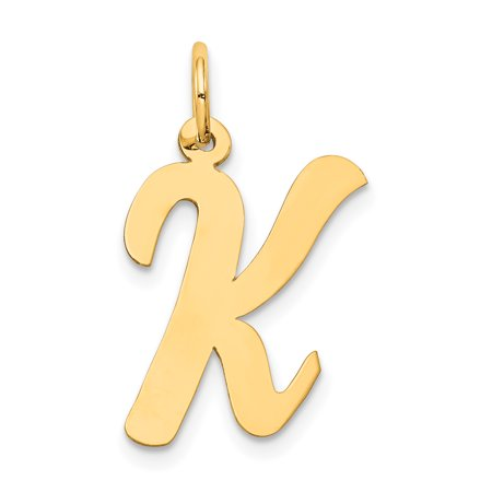 Large Script Initial Letter (14k Yellow Gold Large Script Initial Monogram Name Letter K Pendant Charm Necklace Gifts For Women For)