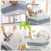 HK 14.49x12.28x4.92 Dish Drying Rack Dish Drainer w/Utensil Holder Antimicrobial Multi-function Foldable