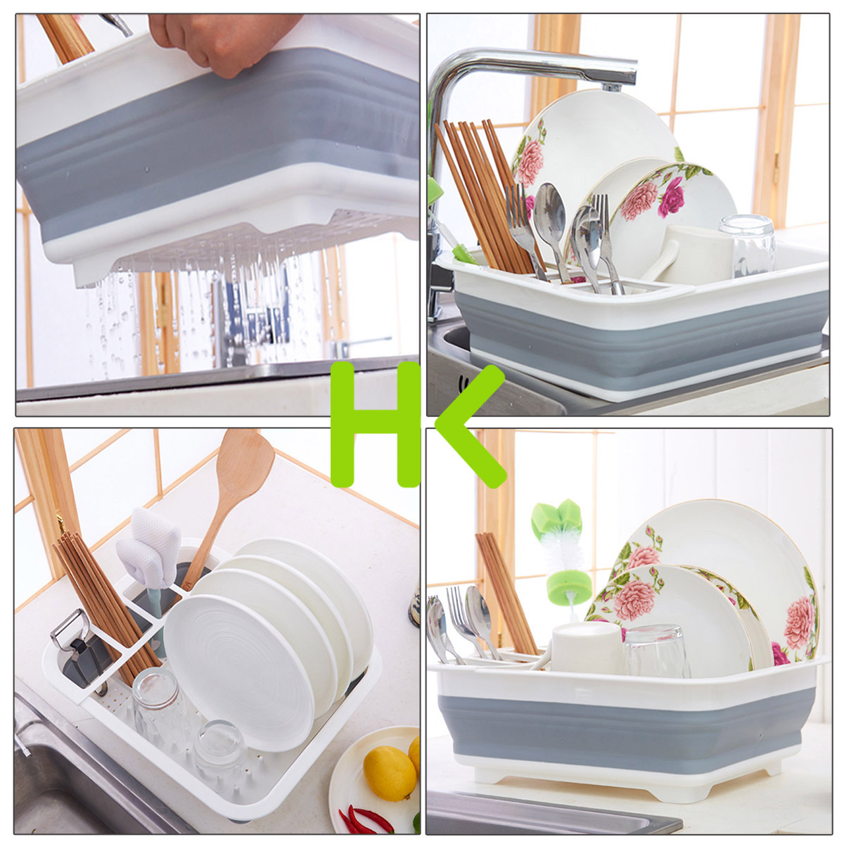 14.49x12.28x4.92 Dish Drying Rack Dish Drainer w/Utensil Holder Antimicrobial Multi-function Foldable