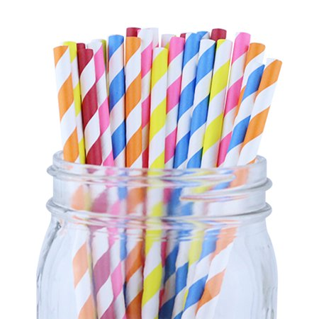Just Artifacts 100pcs Decorative Striped Paper Straws (Striped, Assorted