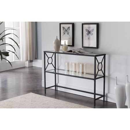 Colton Textured Black & Brushed Copper Metal With Transparent Tempered Glass Modern 2 Storage Shelf Occasional Entryway Console Sofa