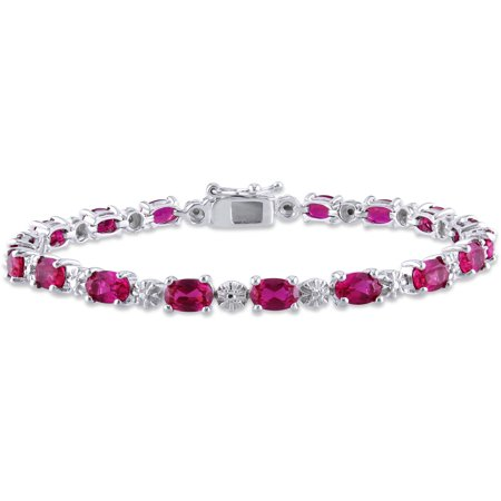 13-1/2 Carat T.G.W. Oval-Cut Created Ruby and Diamond-Accent Sterling Silver Tennis Bracelet, (Created Ruby Tennis Bracelet)