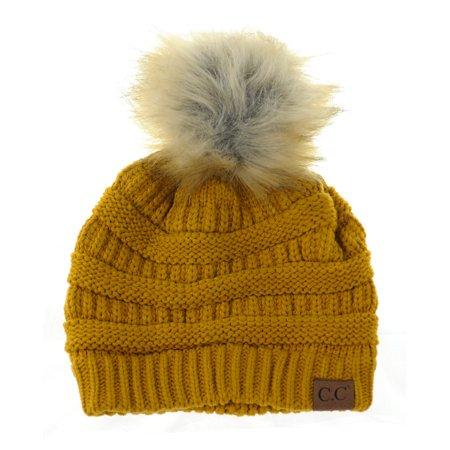 4c48e77e21c NYFASHION101 Exclusive Soft Stretch Cable Knit Faux Fur Pom Pom Beanie Hat  - Mustard - Walmart.com