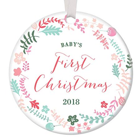 Baby's First Christmas Ornament 2018, Girl Baby 1st Christmas Porcelain Ornament, Pink Pastel Floral Wreath 3