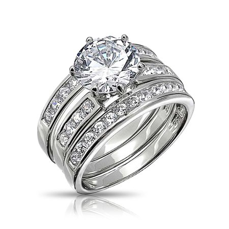 3.5CT Round Solitaire AAA CZ 3Pcs Pave Band Guard Enhancers Engagement Wedding Ring Set For Women 925 Sterling Silver