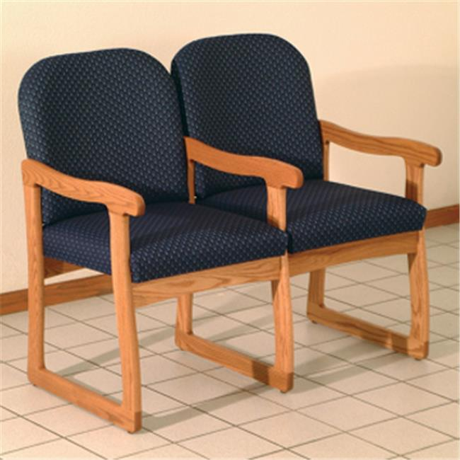 Wooden Mallet DW7-2MOAK Prairie Two Seat Chair with Center Arms in Medium Oak - Arch Khaki
