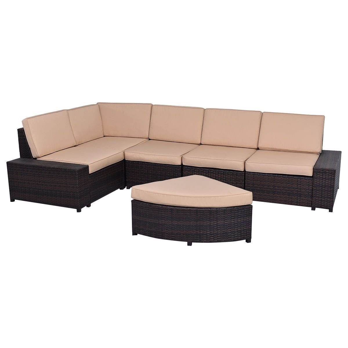 New MTN-G MTN-G 6 PCS Patio Furniture Set Rattan Wicker Table Shelf Sofa Garden W Brown Cushion by MTN Gearsmith