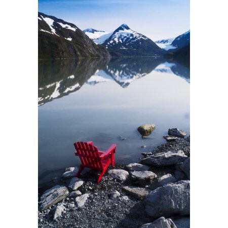 Red Adirondack Chair At Portage Lake With Chugach Mountains In The  Background Southcentral Alaska Canvas Art - Randy Brandon Design Pics (22 x  34)