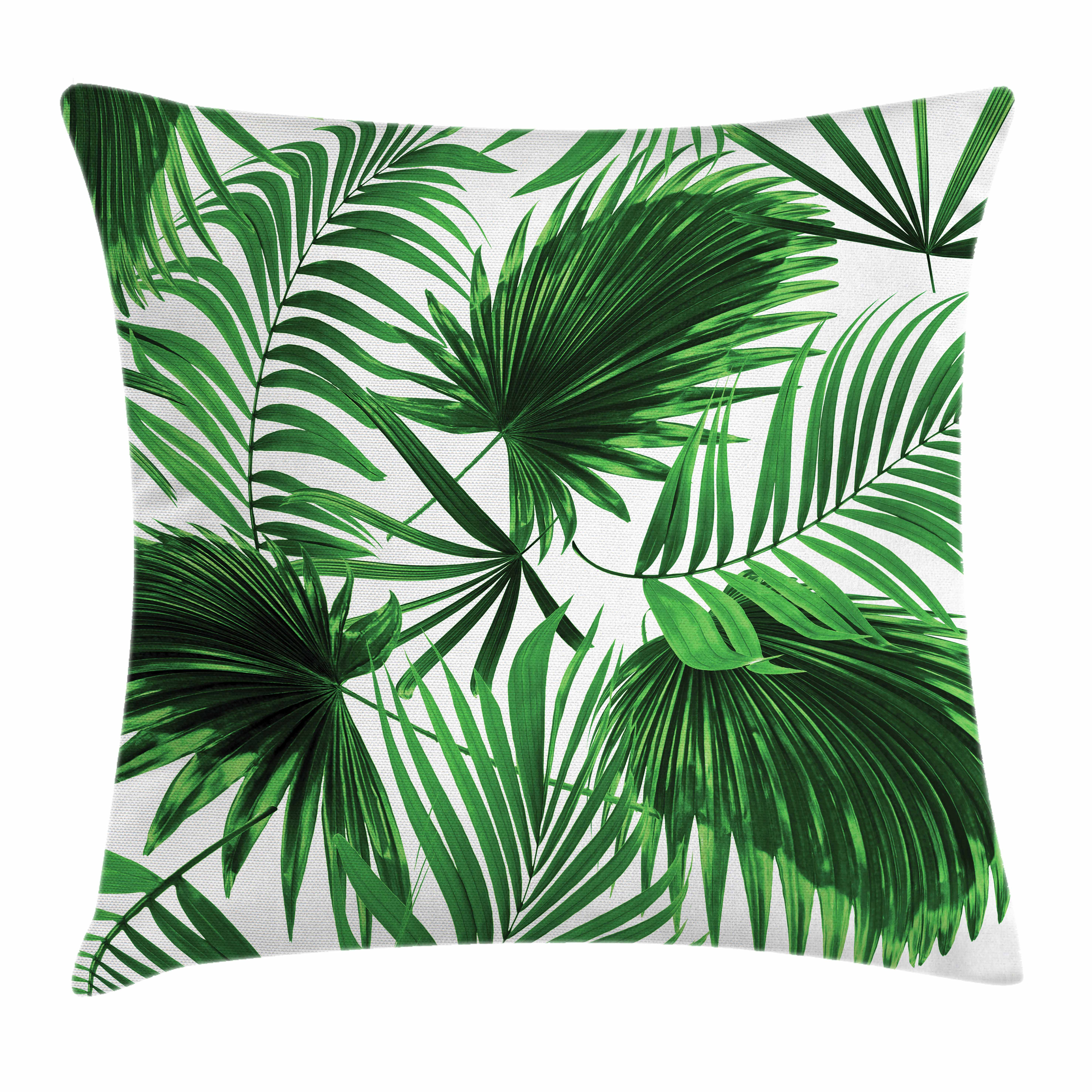 Palm Leaf Throw Pillow Cushion Cover, Realistic Vivid Leaves of Palm Tree Growth Ecology Lush Botany Themed Print, Decorative Square Accent Pillow Case, 18 X 18 Inches, Fern Green White, by Ambesonne
