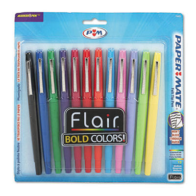 Point Guard Flair Bullet Point Stick Pen, Assorted Ink, 1.4mm, Dozen, Sold as 1 Set, 12 Each per Set