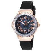 20032Dsm-Rg-01-Sb South Beach Diamonds Black Silicone And Mop Dial Rose-Tone Ss Case Watch