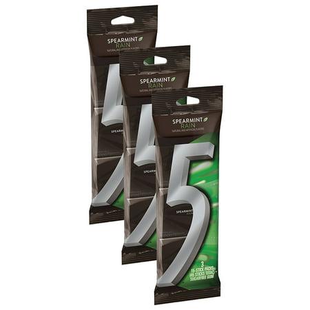 (3 Pack) 5 Gum, Sugar Free Spearmint Rain Chewing Gum, 3 Ct