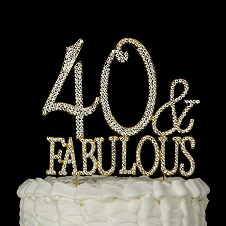 40 Fabulous Cake Topper For 40th Birthday Gold Party Supplies Decoration