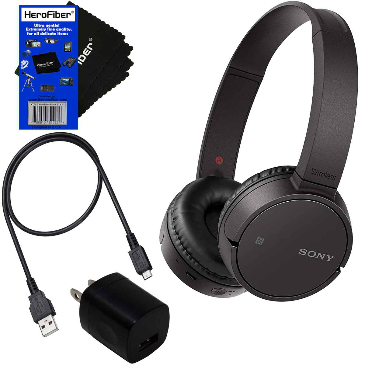 Sony WH CH500 Wireless On Ear Stereo Headphones with Bluetooth & NFC (Black) + USB Cable + Charger Wall Adapter + HeroFiber Ultra Gentle Cleaning