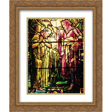 Louis Comfort Tiffany 2x Matted 20x24 Gold Ornate Framed Art Print 'The Baptism of Jesus' (Tiffany Baptism Gift)
