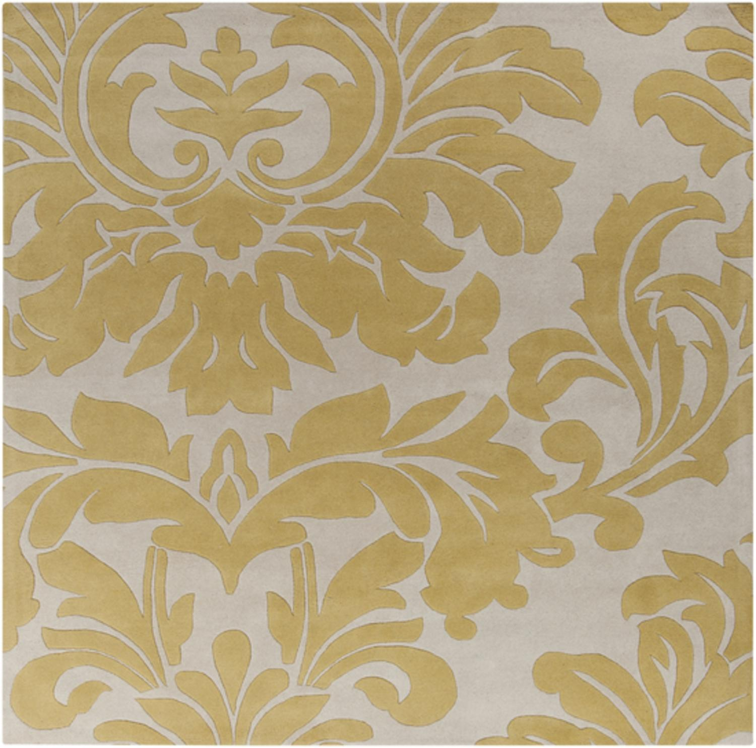 9.75' x 9.75' Falling Leaves Damask Pea Green & Creme Square Wool Area Throw Rug