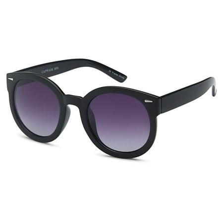0f76804bfbf6 CATWALK - CATWALK Womens Oversized Cat Eye Plastic Fashion Frame Sunglasses  with Mirror Flash Lens Option - Gradient Purple Lens on Black Frame -  Walmart. ...
