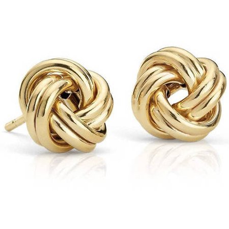 14kt Solid Yellow Gold Love Knot Earrings