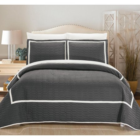 Chic Home 3-Piece Marla Hotel Collection 2 tone banded Quilted Geometrical Embroidered Quilt Set