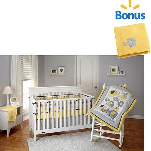 Little Bedding by NoJo Elephant Time 4pc Crib Bedding Set w/Bonus Fleece Blanket, Yellow