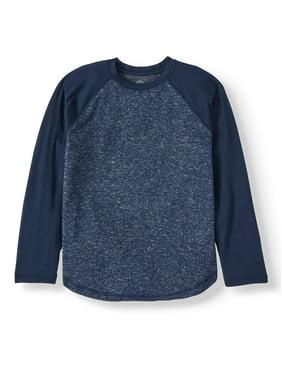Wonder Nation Sweater Knit Long Sleeve Raglan Top (Little Boys, Big Boys, & Husky)