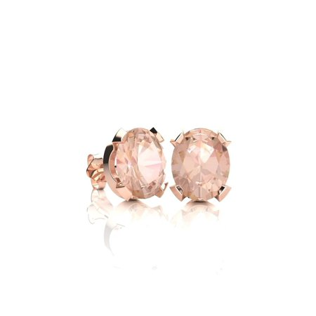 3/4 Carat Oval Shape Morganite Stud Earrings In 14K Rose Gold Over Sterling Silver