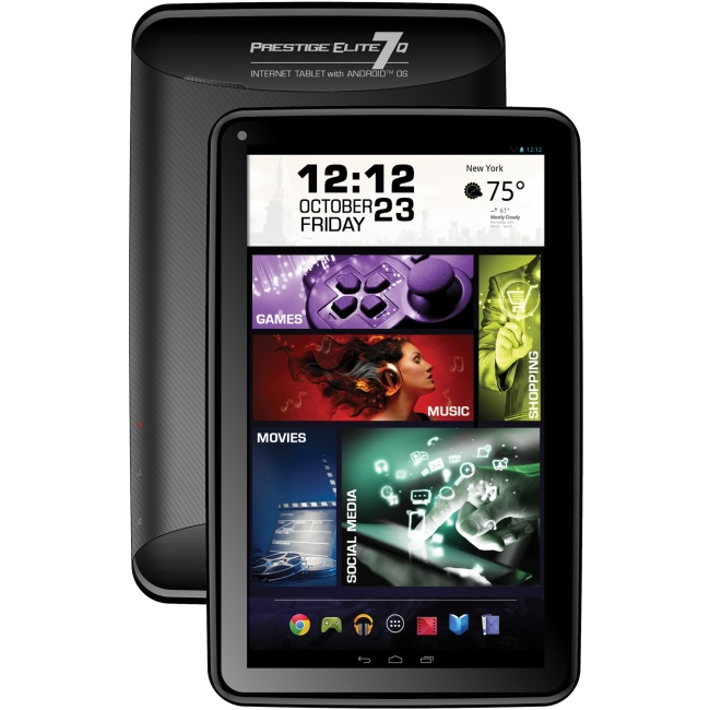 "Visual Land ME-7Q-8GB-BLK Visual Land Prestige Elite 7Q 8GB Tablet - 7"" - Quad-Core - Black - Android 4.4 KitKat - Slate - 1024 x 600"