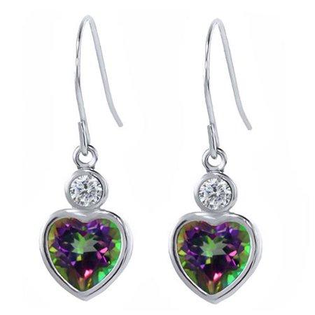 2.34 Ct Heart Shape Green Mystic Topaz G/H Diamond 925 Sterling Silver Earrings