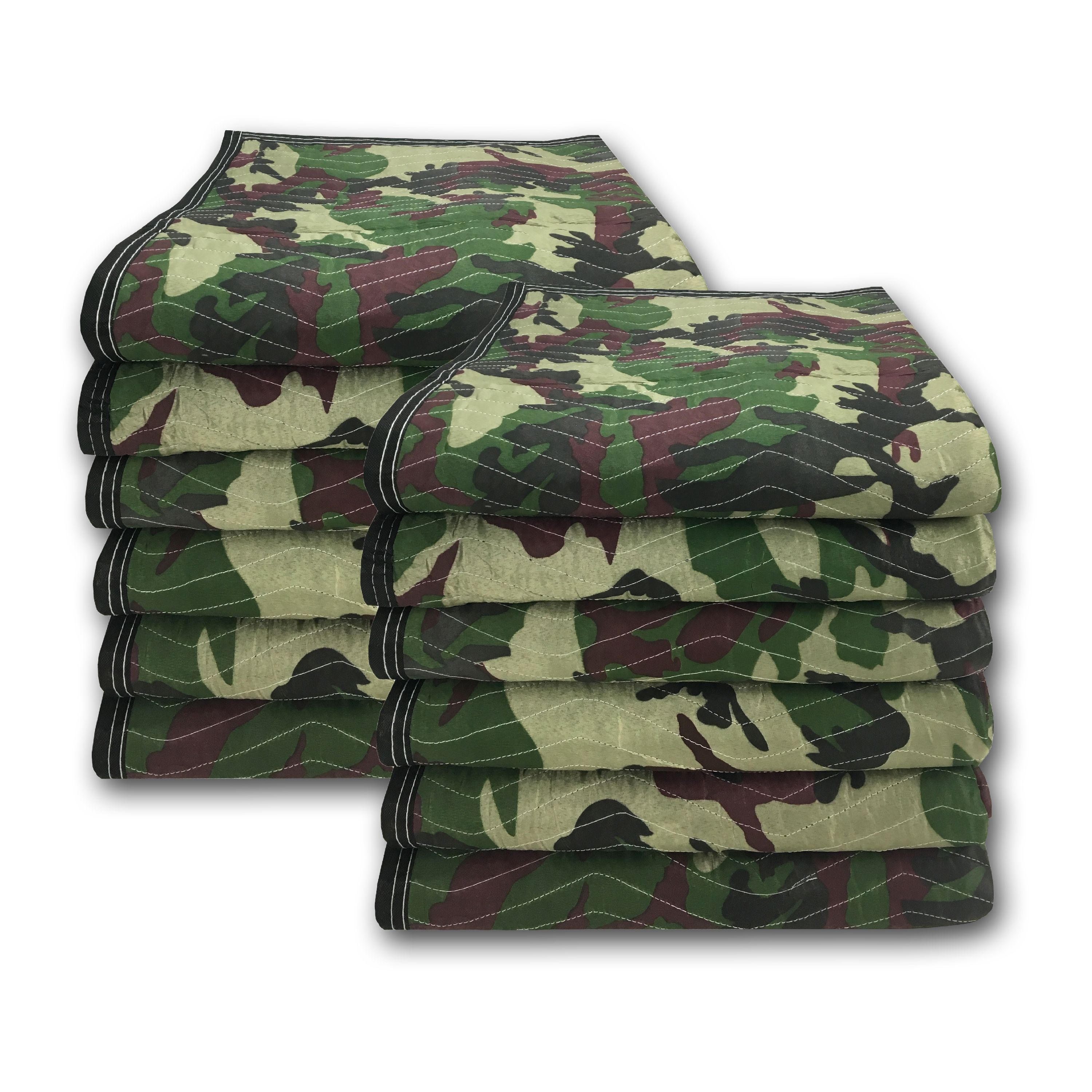 Uboxes Camo Moving Blankets, 72 x 80 in, 5.4lbs each, 12 Pack