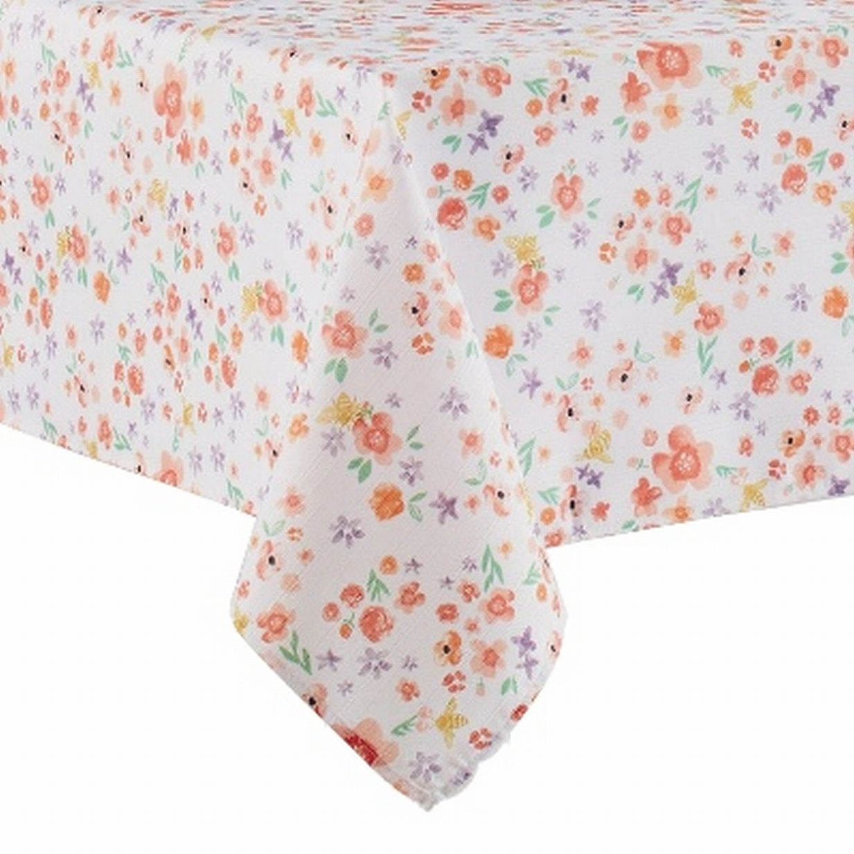 Home /& Garden Coral Pink Beautiful Floral Outdoor Easy Care Tablecloth 60 x 120