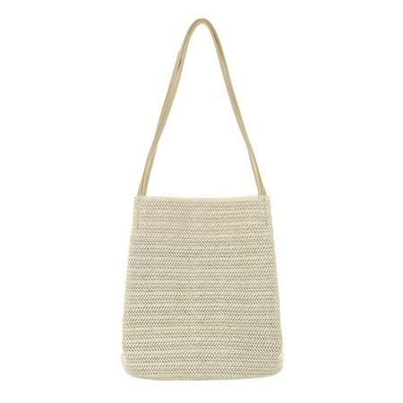 Fysho Women Summer Style Durable Weave Straw Beach Bags Linen Woven Bucket Bag Grass Casual Tote Handbags