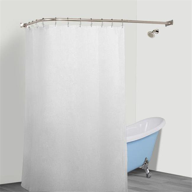 Utopia Alley Rustproof L Shaped Corner Shower Curtain Rod Nickel