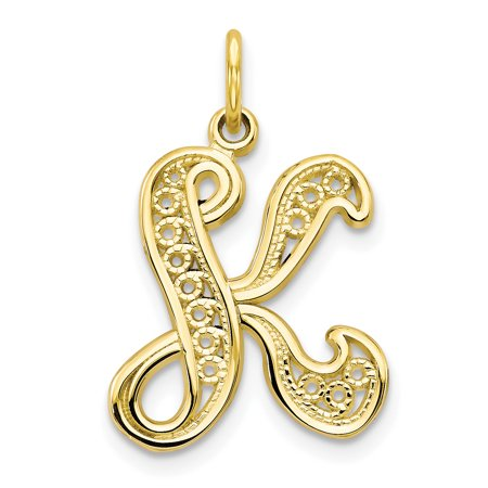 10k Yellow Gold Initial Monogram Name Letter K Pendant Charm Necklace Fine Jewelry For Women Gift Set