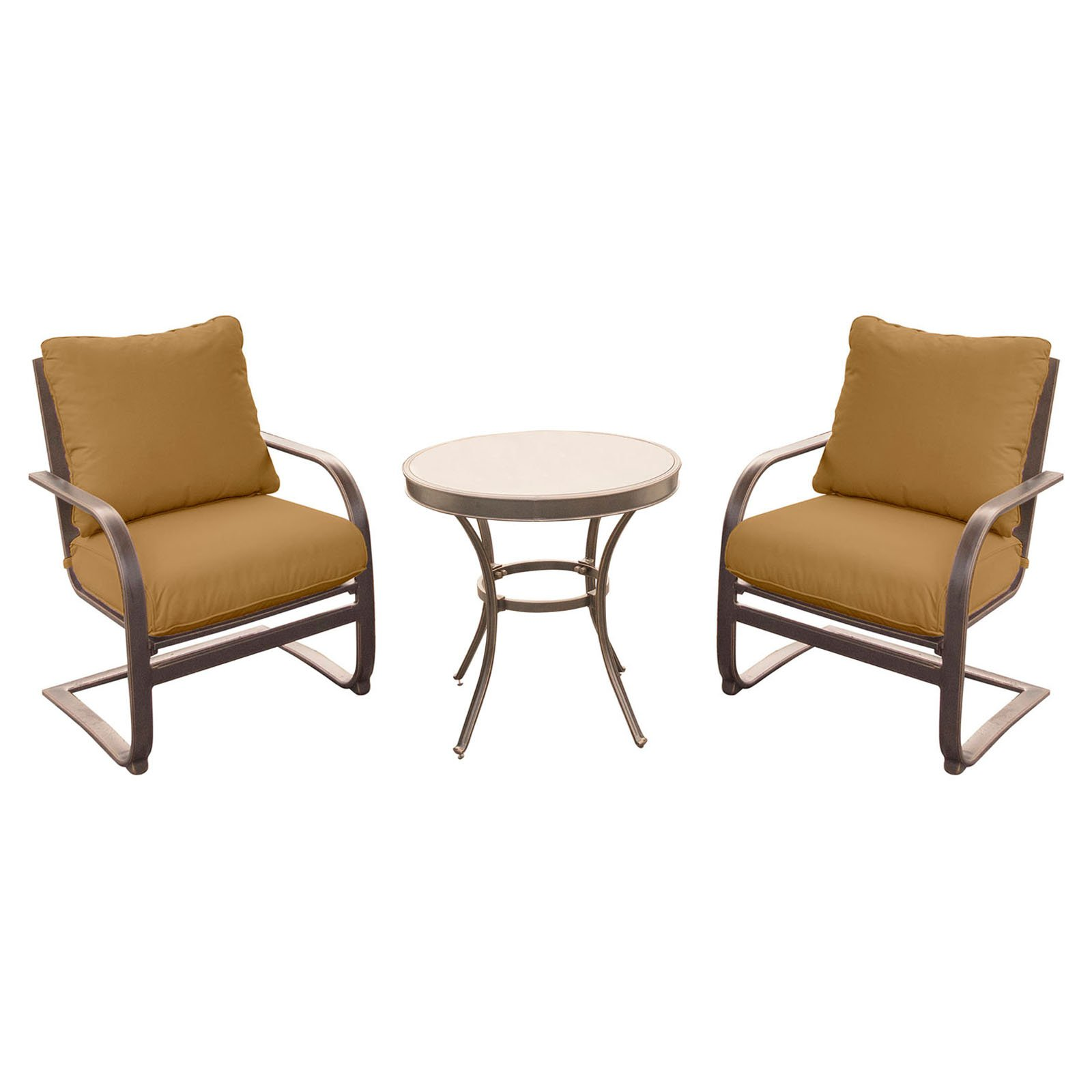 Hanover Outdoor Summer Nights 3-Piece Chat Set with Glass-Top Table and C-Spring Chairs in Desert Sunset