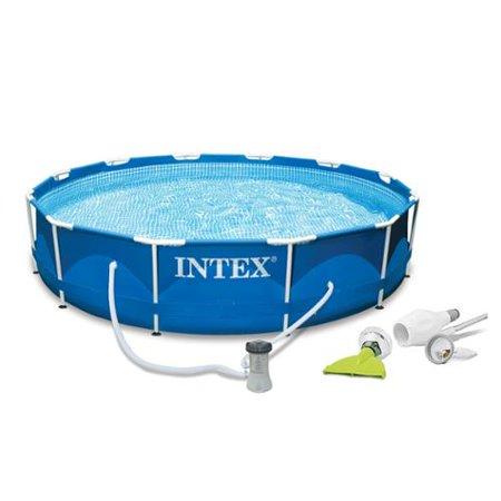 Intex 12 39 X 30 Metal Frame Set Swimming Pool With Filter Pump Skooba Vaccum