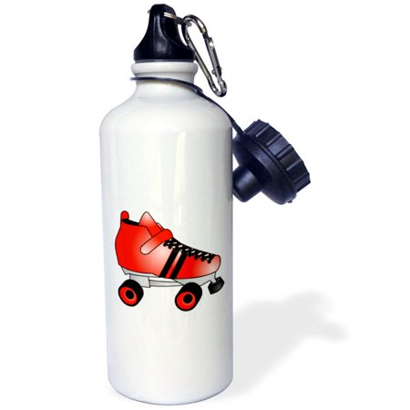 3dRose Skating Gifts  - Red and Black Roller Skate, Sports Water Bottle, - Roller Skate Glow Necklace