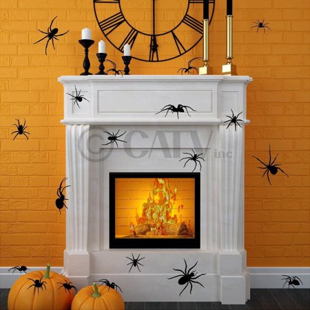 Halloween Large Spiders scary decals Halloween wall stickers prank party décor (set of 20)