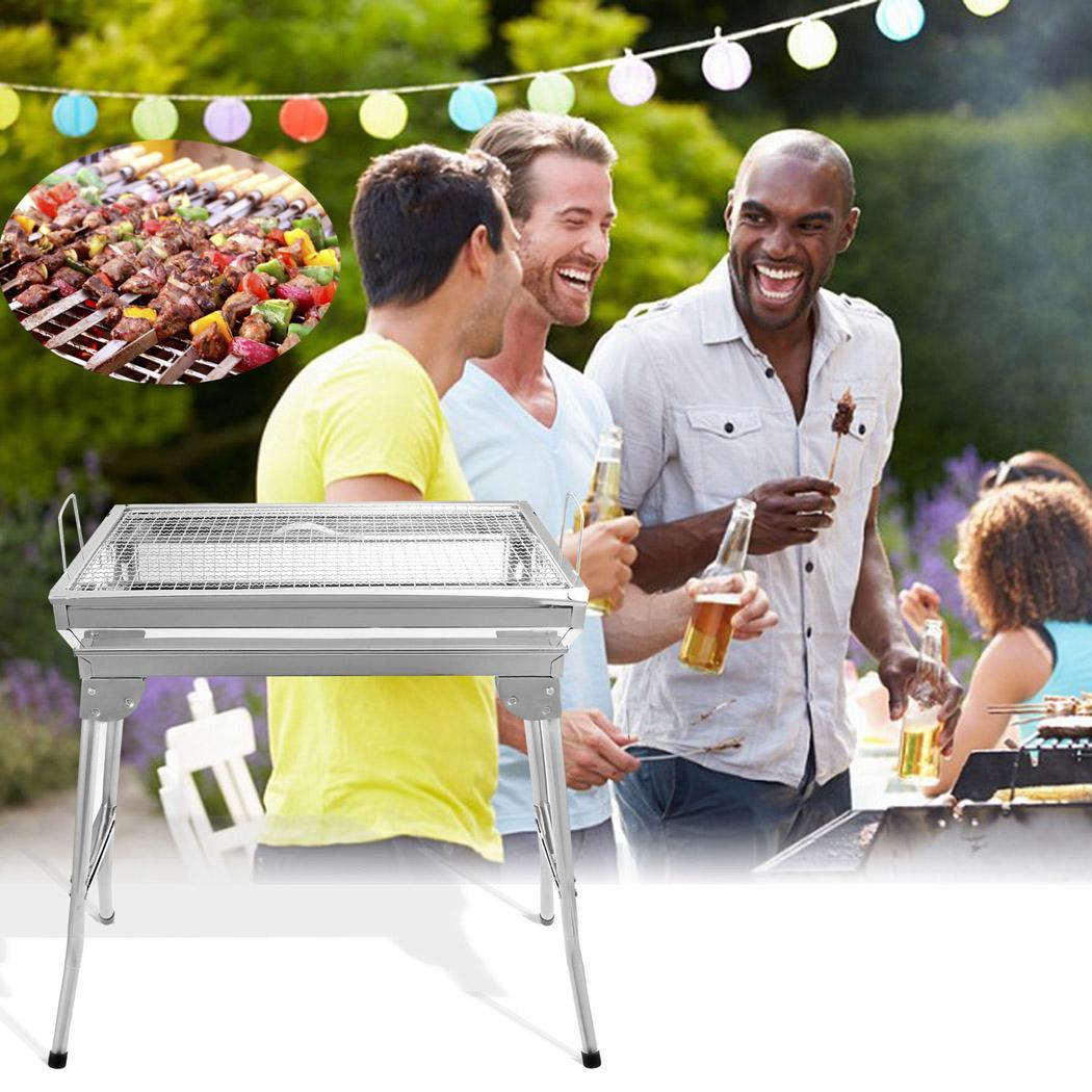 Elecmall Outdoor Stainless Steel Folding Grill Cooking Garden Barbecue BBQ Pinic Grill Set Elec