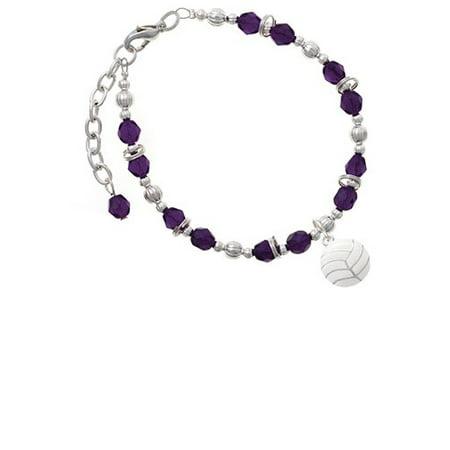 Silvertone Large Volleyball Purple Beaded Bracelet](Volleyball Charm Bracelet)
