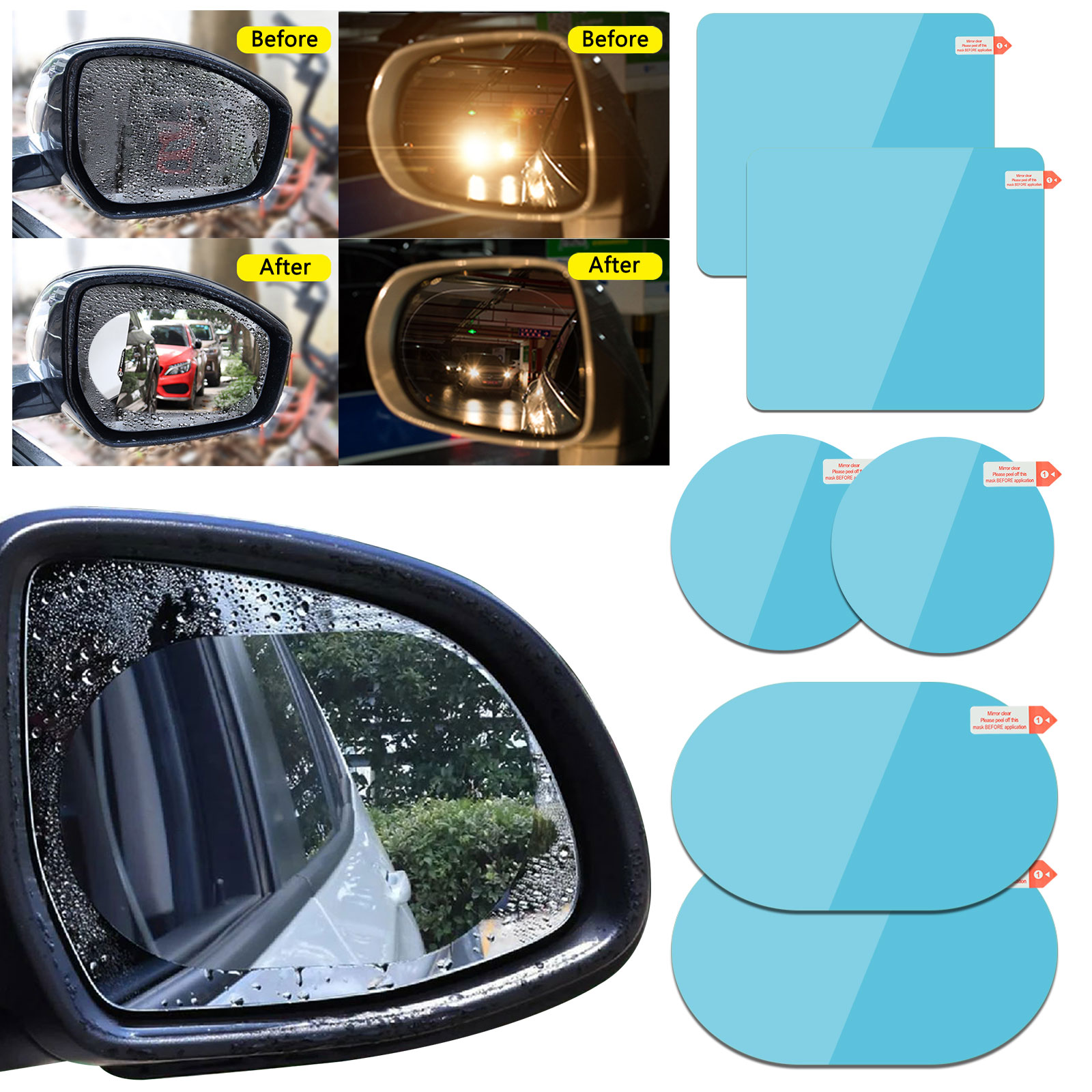 Car Rearview Mirror Anti-Fog Film Film Car Side Window Reflective Mirror Universal Waterproof Film Suitable for All Automobile Vehicle Models