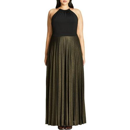eeb9f709a6c City Chic - City Chic Womens Plus Metallic Pleated Maxi Dress - Walmart.com