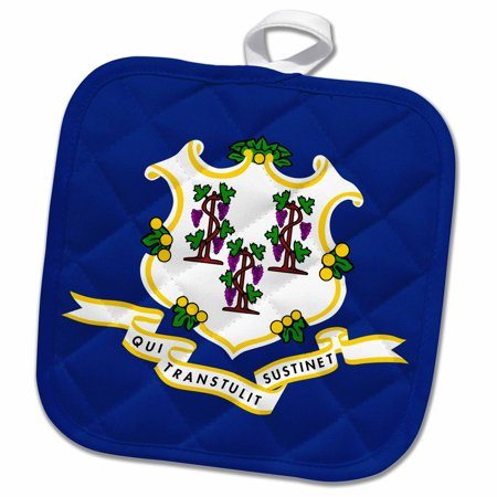 8 Inch Grapevine - 3dRose Flag of Connecticut - US American state - United States of America USA - blue grapevine shield - Pot Holder, 8 by 8-inch