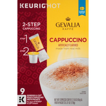 Gevalia Cappuccino Espresso Coffee K-Cup Pods & Froth Packets 9 ct Box